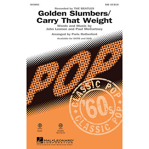 Hal Leonard Golden Slumbers/Carry That Weight (SAB) SAB by The Beatles arranged by Paris Rutherford