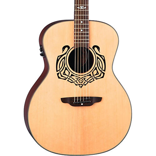 Luna Guitars Grand Concert Celtic-Themed Acoustic-Electric Guitar Natural Celtic Swan