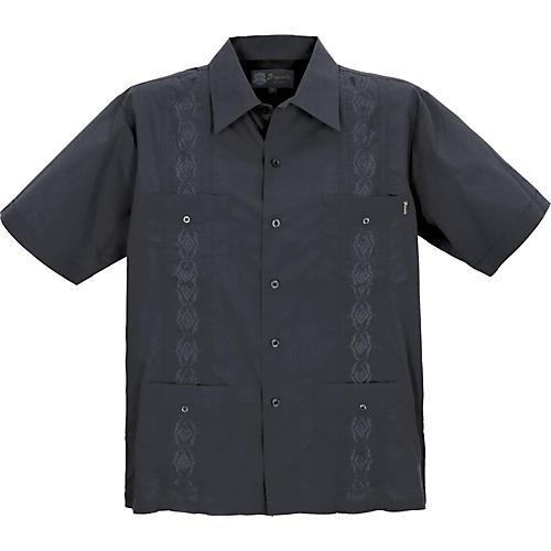Dragonfly Clothing Company Guayabera Men's Shirt - Black-thumbnail