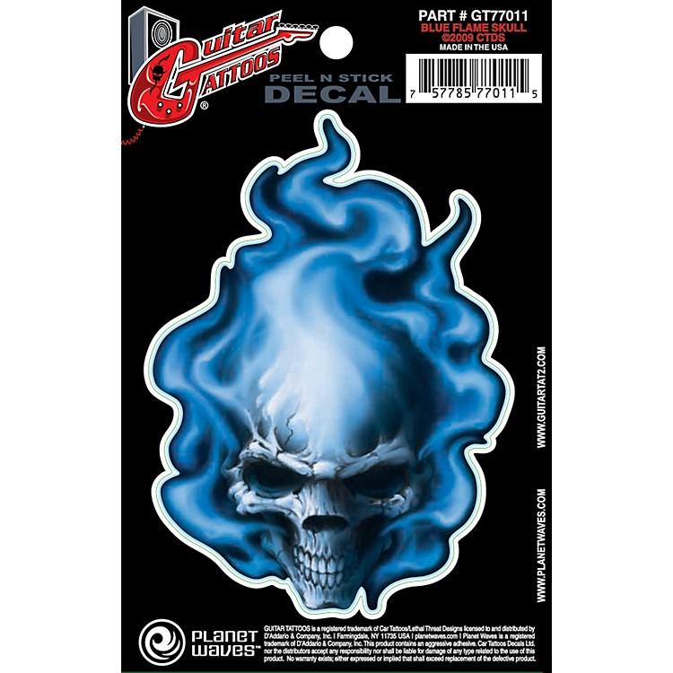 Planet WavesGuitar Tattoo DecalBlue Flame Skull