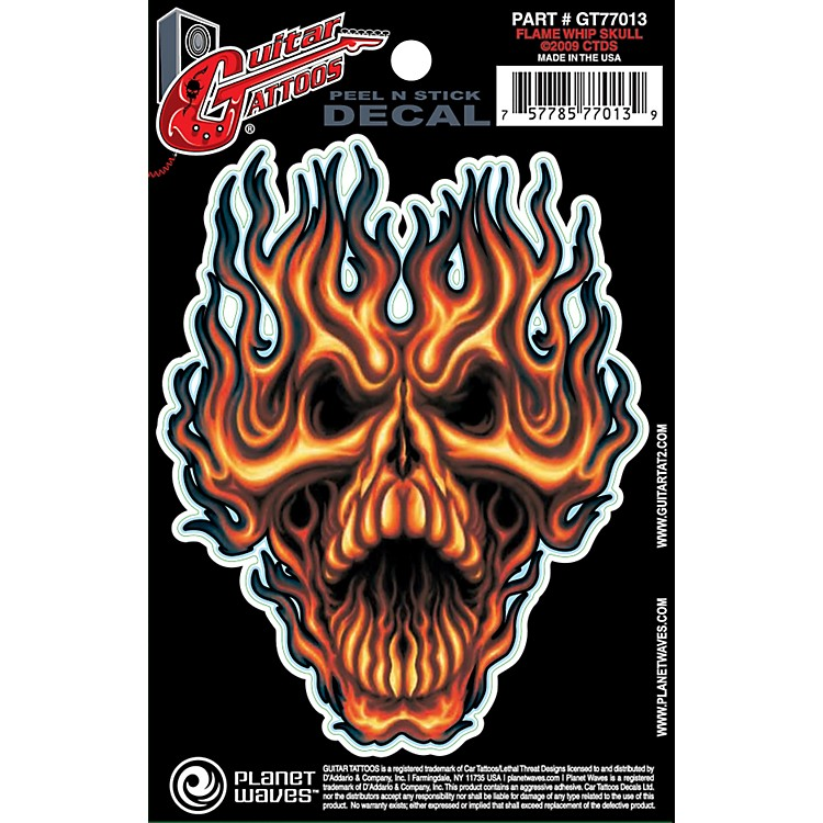 Planet WavesGuitar Tattoo DecalFlame Whip Skull