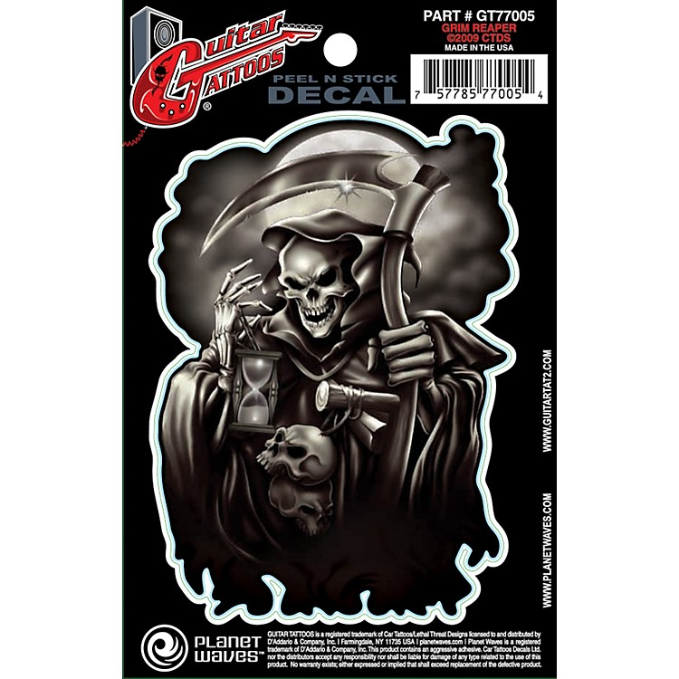 D'Addario Planet Waves Guitar Tattoo Decal Grim Reaper