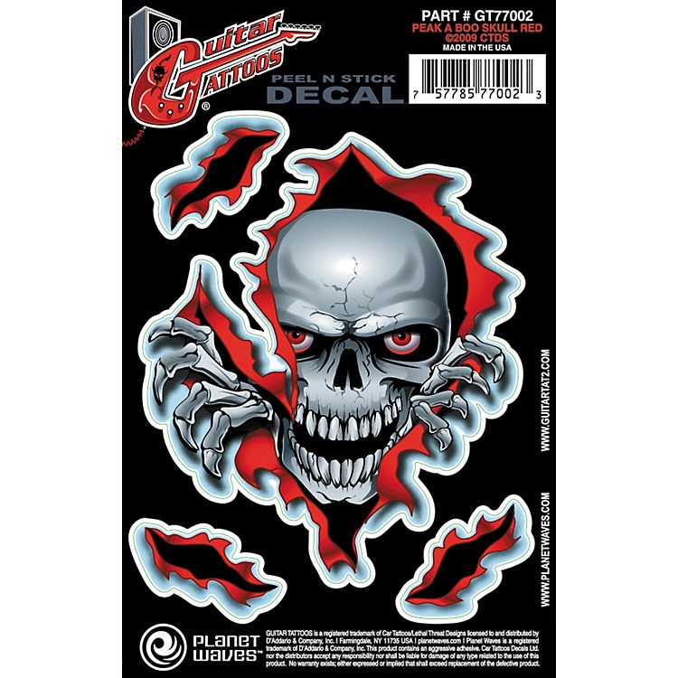 Planet WavesGuitar Tattoo DecalPeek a Boo Skull