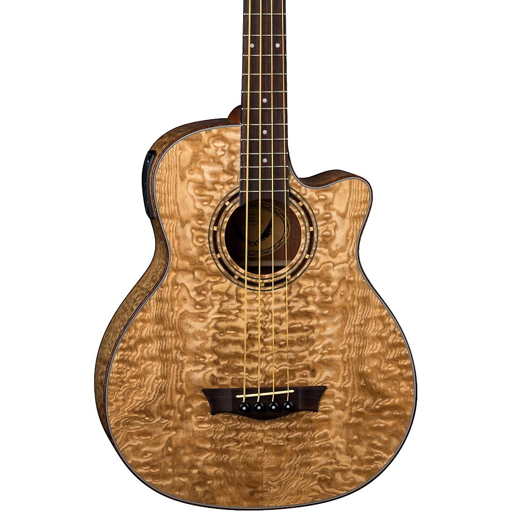 dean exotica quilted ash acoustic electric bass guitar gloss natural ebay. Black Bedroom Furniture Sets. Home Design Ideas