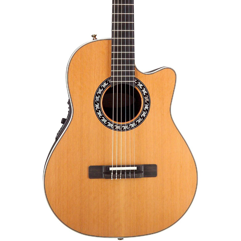 acoustic ovation elite ax mid depth cutaway acoustic electric nylon string guitar natural was. Black Bedroom Furniture Sets. Home Design Ideas