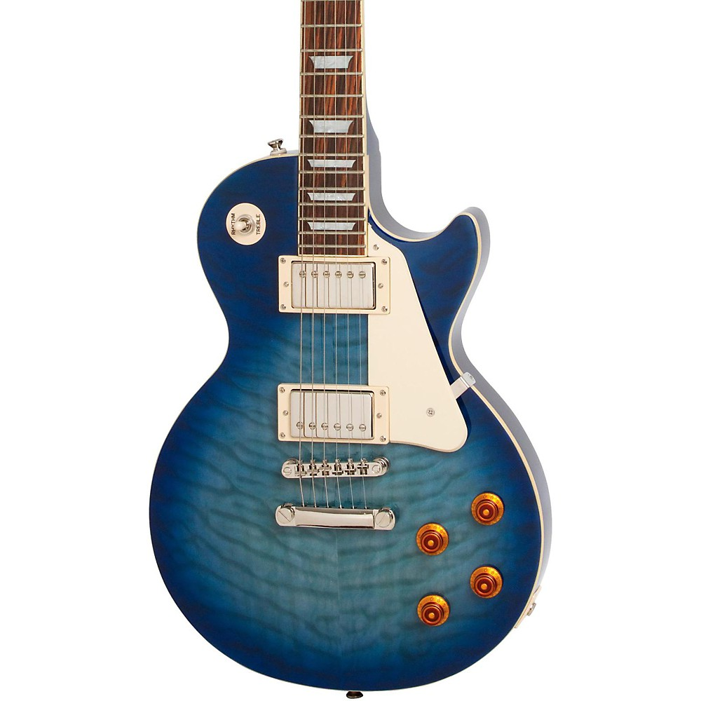 epiphone limited edition les paul quilt top pro electric guitar trans blue mc ebay. Black Bedroom Furniture Sets. Home Design Ideas