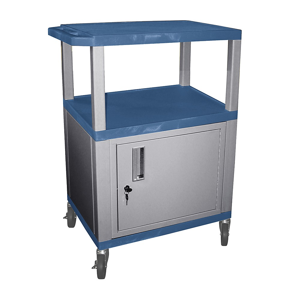 H. Wilson Tuffy Cart With Lockable Cabinet Blue And Nickel Small