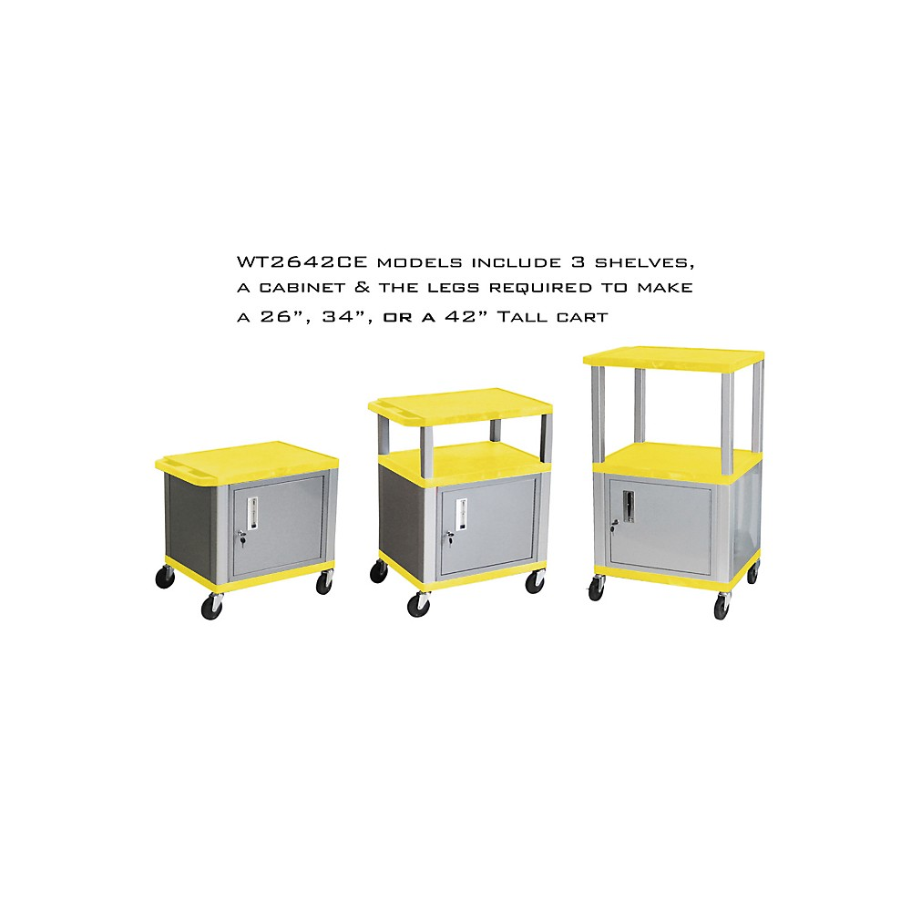 H. Wilson Tuffy Cart With Lockable Cabinet Yellow And Nickel Small