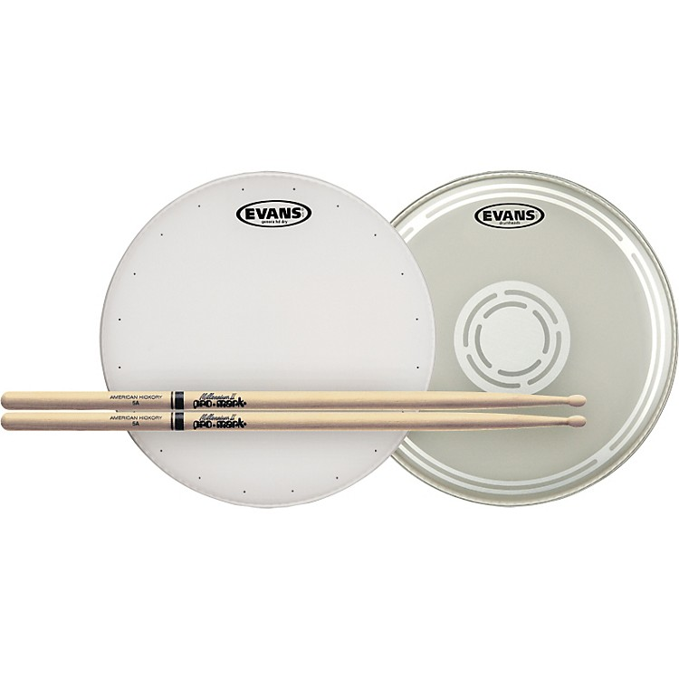 Evans HD Dry Snare Batter and Snare Side Head Pack with Free Pair of Pro-Mark Sticks Nylon 5A