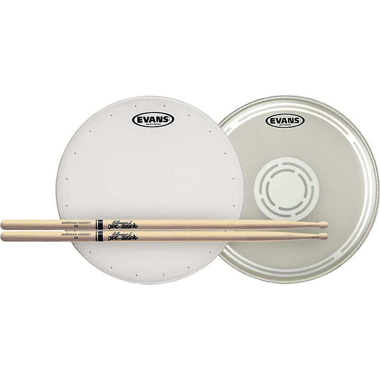 EvansHD Dry Snare Batter and Snare Side Head Pack with Free Pair of Pro-Mark SticksWood5A