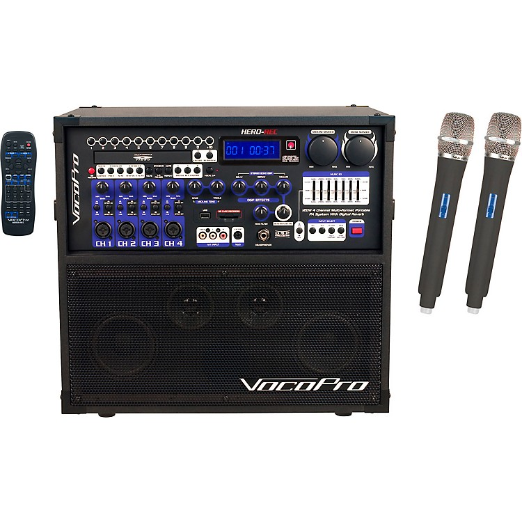 VocoPro HERO-REC UHF Multi-Format Portable PA Karaoke System with Digital Recorder & UHF Wireless System Set Q+R