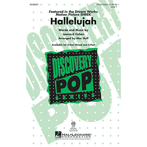 Hal Leonard Hallelujah (Discovery Level 1) 3-Part Mixed arranged by Mac Huff