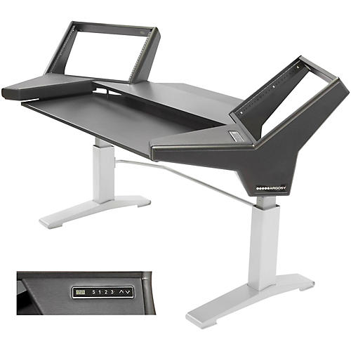 Argosy Halo Keyboard Height Ajdustable Keyboard Desk w/Black End Panels and Silver Legs-thumbnail