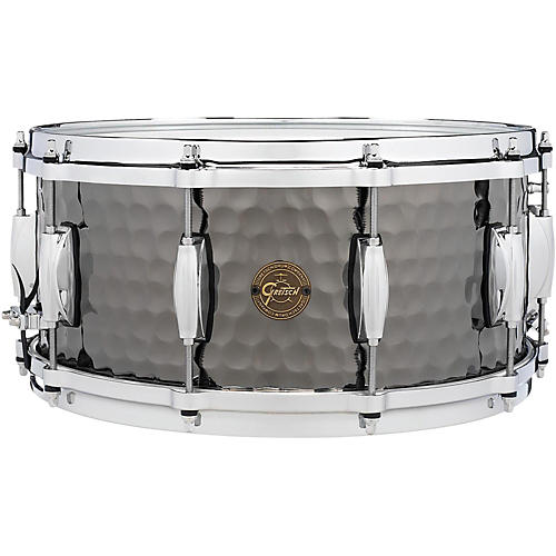 Gretsch Drums Hammered Black Steel Snare 14 x 8 in.-thumbnail