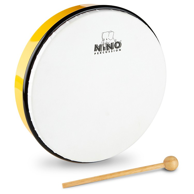 Nino Hand Drum with Beater Yellow 10 Inches