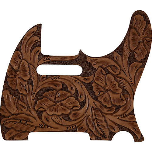 El Dorado Hand-Tooled Leather Tele Pickguard Brown