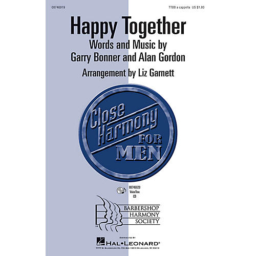Hal Leonard Happy Together TTBB A Cappella by The Turtles arranged by Liz Garnett