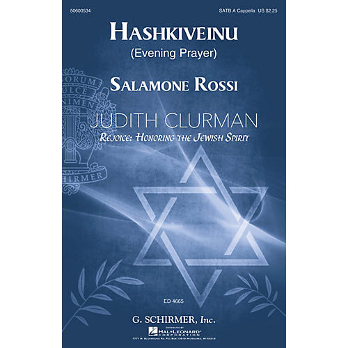 G. Schirmer Hashkiveinu (Evening Prayer) SATB A Cappella by Solomone Rossi-thumbnail