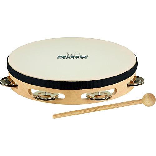 Nino Headed Wood Tambourine w/Single Row of Chimes Natural 8 Inch