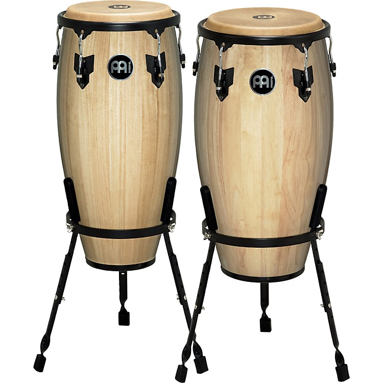 Meinl Headliner Series 11 and 12 Inch Wood Conga Set with Basket Stands Natural