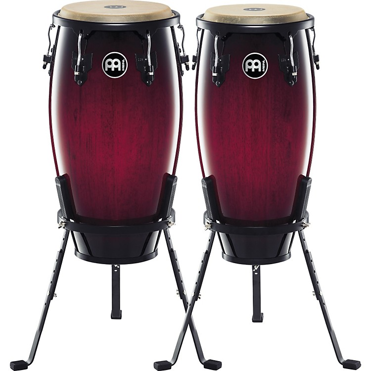 Meinl Headliner Series 11 and 12 Inch Wood Conga Set with Basket Stands Wine Red Burst