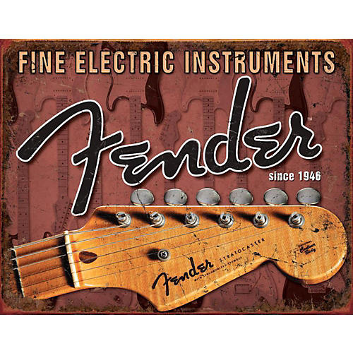 Fender Headstock Tin Sign White
