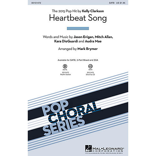 Hal Leonard Heartbeat Song 3-Part Mixed by Kelly Clarkson Arranged by Mark Brymer-thumbnail