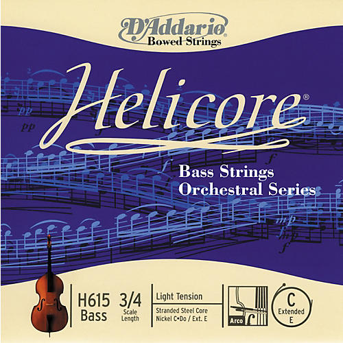 D'Addario Helicore H615 3/4L Light Bass Extended E String