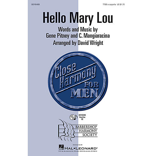 Hal Leonard Hello Mary Lou TTBB A Cappella by Ricky Nelson arranged by David Wright