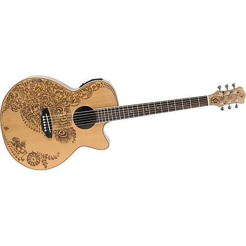 Luna Guitars Henna Oasis Cedar Top Folk Acoustic-Electric Guitar