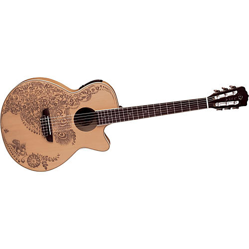 Luna Guitars Henna Series Oasis Folk Cutaway Nylon String Acoustic-Electric Guitar