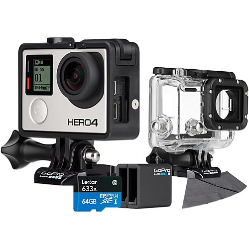 GoPro Hero4 Black Music Edition with 64GB SD Card, Dive Housing and Charger Bundle