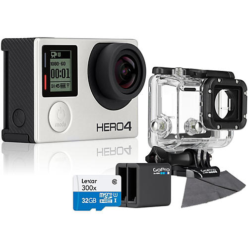 GoPro Hero4 Silver - Standard with 32GB SD Card, Dive Housing and Charger Bundle