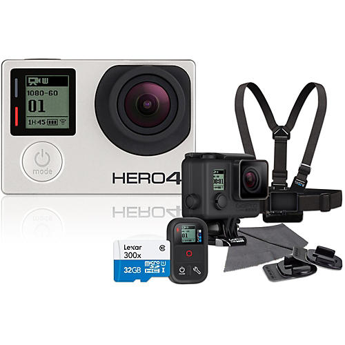 GoPro Hero4 Silver Music Edition Drummer's Pack with 32GB SD Card Bundle-thumbnail
