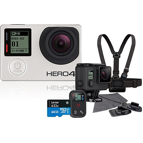 GoPro Hero4 Silver Music Edition Drummer's Pack with 64GB SD Card Bundle-thumbnail