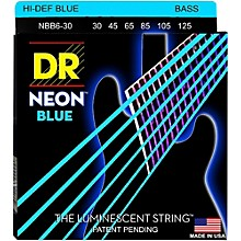 DR Strings Hi-Def NEON Blue Coated 6-String Bass Strings Medium (30-125)
