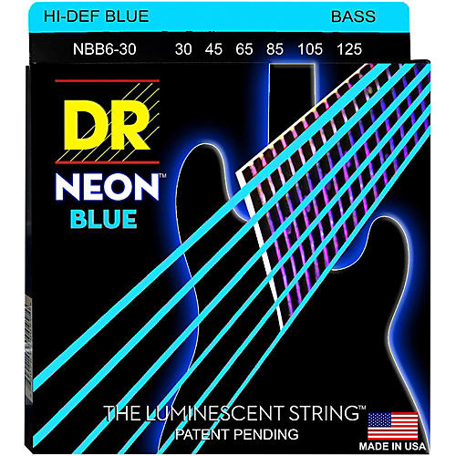 DR Strings Hi-Def NEON Blue Coated 6-String Bass Strings Medium (30-125)-thumbnail