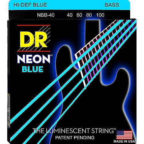 DR Strings Hi-Def NEON Blue Coated Lite 4-String Bass Strings (40-100)-thumbnail