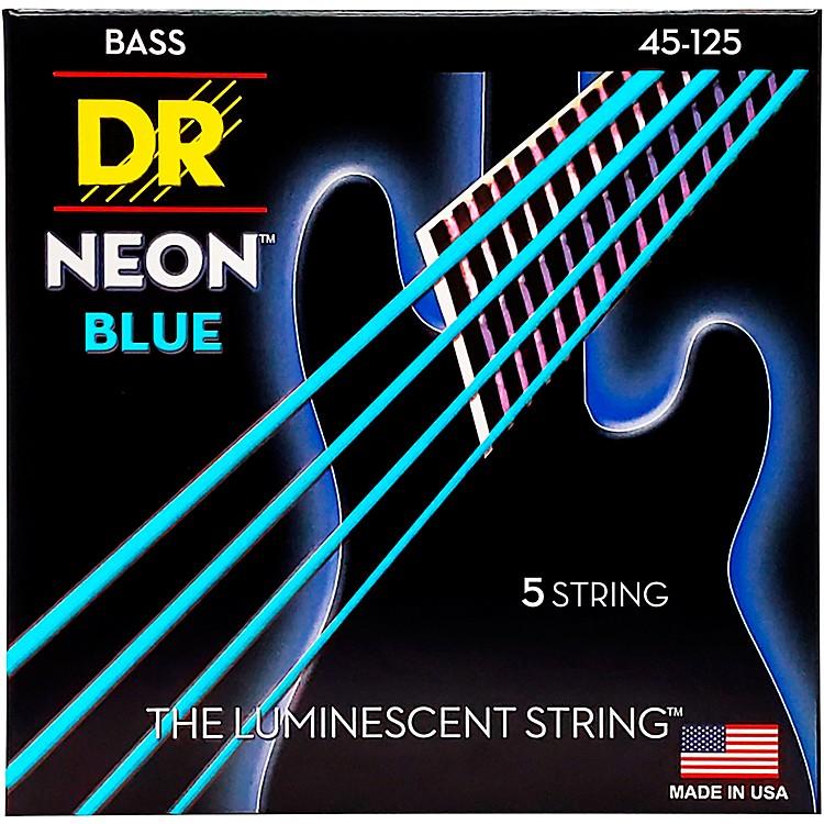 DR StringsHi-Def NEON Blue Coated Medium 5-String (45-125) Bass Guitar Strings
