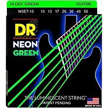 DR Strings Hi-Def NEON Green Coated Medium 7-String Electric Guitar Strings (10-56) Neon Green