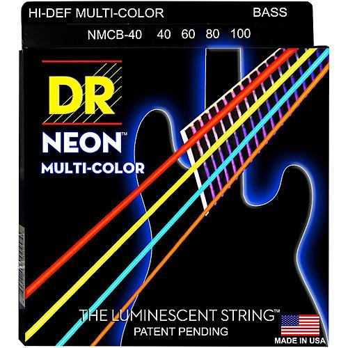 DR Strings Hi-Def NEON Multi-Color Coated 4-String Bass Strings Lite (40-100)