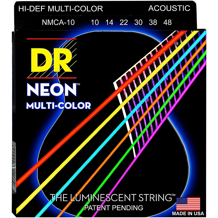 DR Strings Hi-Def NEON Multi-Color Coated Lite Acoustic Guitar Strings