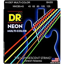 DR Strings Hi-Def NEON Multi-Color Coated Medium 5-String Bass Strings