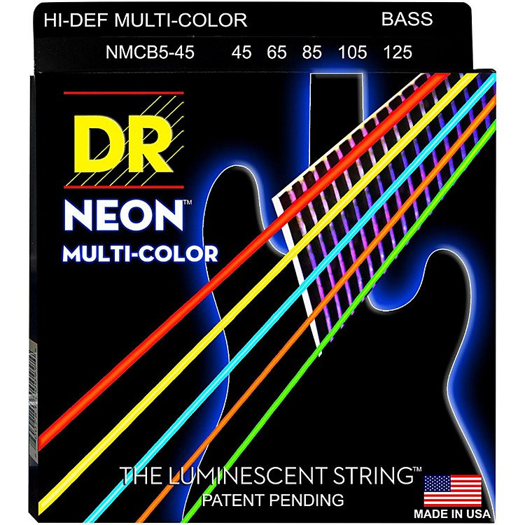 DR StringsHi-Def NEON Multi-Color Coated Medium 5-String Bass Strings