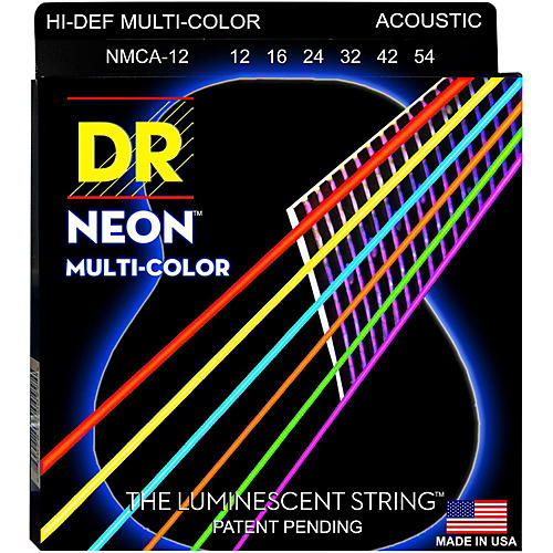 DR Strings Hi-Def NEON Multi-Color Coated Medium Acoustic Guitar Strings