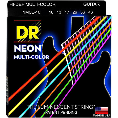 DR Strings Hi-Def NEON Multi-Color Coated Medium Electric Guitar Strings