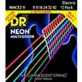 DR Strings Hi-Def NEON Multi-Color Light Electric Guitar Strings (9-42) 2 Pack