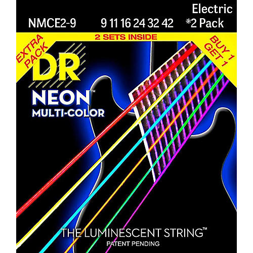 DR Strings Hi-Def NEON Multi-Color Light Electric Guitar Strings (9-42) 2 Pack-thumbnail