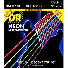 DR Strings Hi-Def NEON Multi-Color Medium Electric Guitar Strings (10-46) 2 Pack
