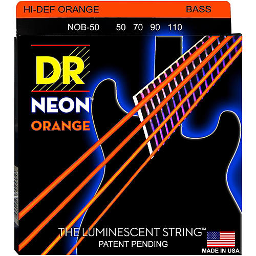 DR Strings Hi-Def NEON Orange Coated 4-String Bass Strings Heavy (50-110)-thumbnail